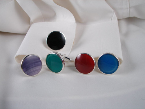 CL-Gr: Set of Green Onyx Cuff Links