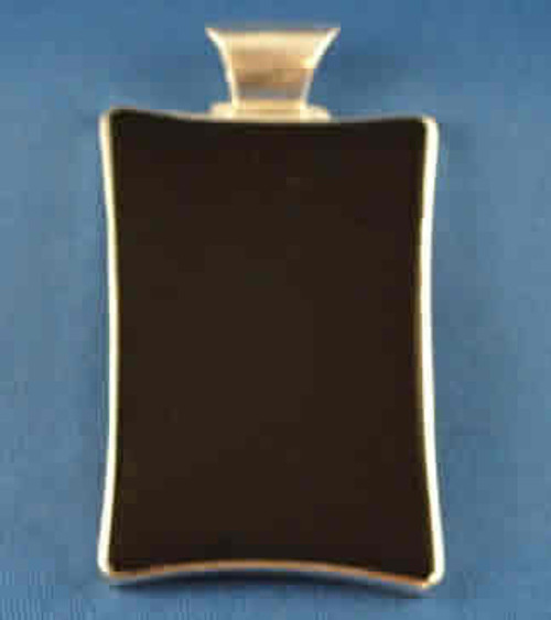 189VBO: Large Vertical Rectangle Black Onyx Pendent mounted in Sterling Sliver, Engravable Area, 2-1/8 inch x 1-3/8 inch.