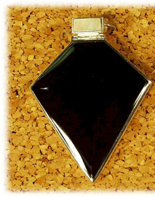 190BO: Black Onyx Pendant Mounted in Sterling Sliver, Engravable Area, 1-1/4 inch x 1-1/2 inch.