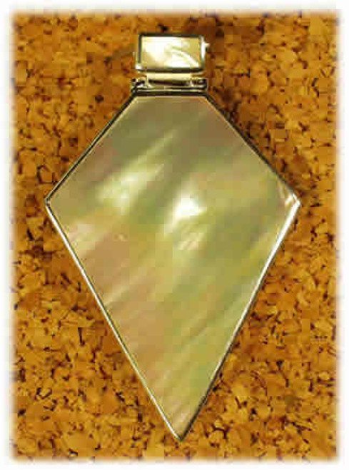 190MOP: Mother of Pearl Pendant Mounted in Sterling Sliver, Engravable Area, 1-1/4 inch x 1-1/2 inch.