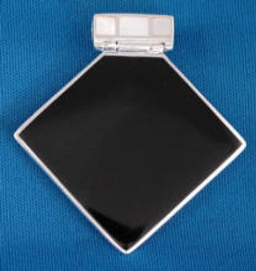 191BO: Black Onyx Pendant Mounted in Sterling Sliver, Engravable Area, 1-3/8 inch x 1-3/8 inch.
