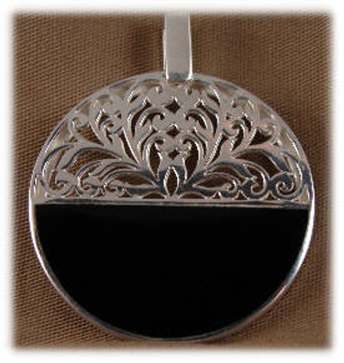 239BO: 1/2 Round Black Onyx Pendent Mounted in Sterling Sliver, Engravable Area, 1-11/16 inch x 13/16 inch.