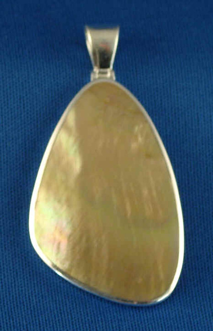 257C: Champagne Tear Drop Pendent Mounted in Sterling Sliver, Engravable Area, 1-3/4 inch x  1-1/8 inch.