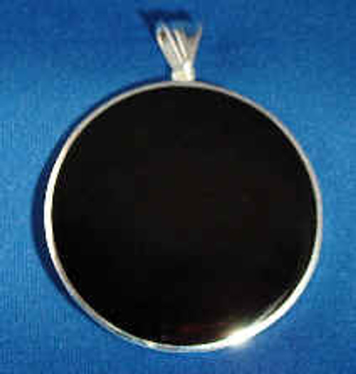294BO:  Round Black Onyx Pendent Mounted in Sterling Sliver, w/Open Back.  Engravable Area, 1  inch.