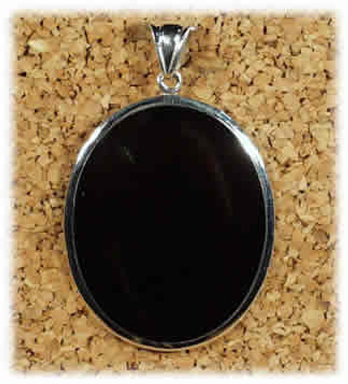 304BO: Black Onyx Large Oval Pendant Mounted in Sterling Sliver, Engravable Area, 1-5/16 inch x 1-5/8 inch.