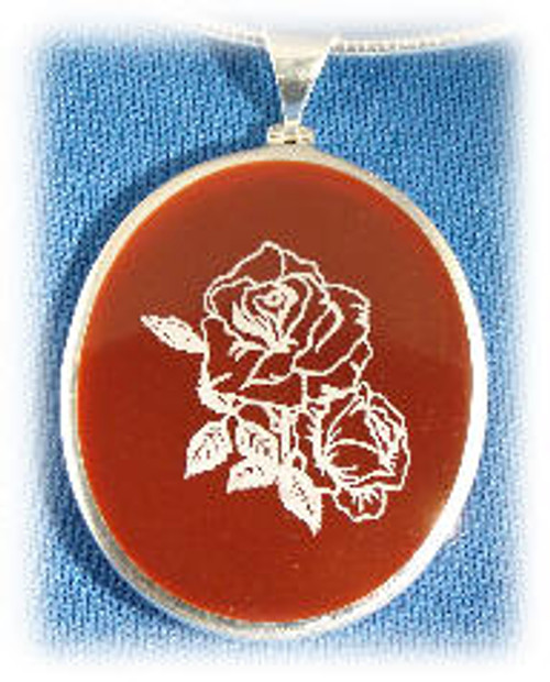 "304RO: Oval Red Onyx Pendent mounted in Sterling Silver, 1-1/2"" wide x 1-3/4"" long."