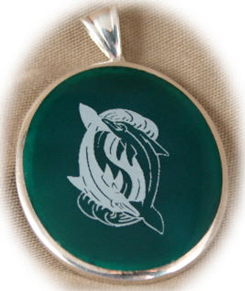 "304GR: Oval Green Onyx Pendent mounted in Sterling Silver, 1-1/2"" wide x 1-3/4"" long."