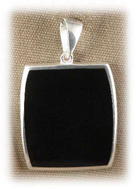 "309BLK: Black Onyx  Pendent mounted in Sterling Silver, 7/8"" wide x 1"" long."