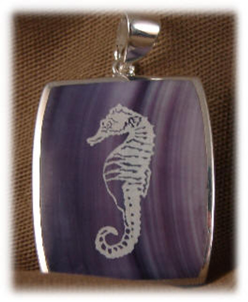 "309ORC: Rectangle Orchid  Onyx Pendent mounted in Sterling Silver, 7/8"" wide x 1"" long."