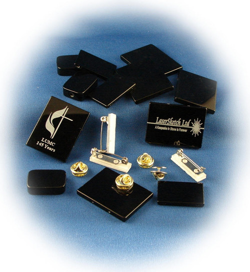 BO-Kit #3:  Bag of 6-Small Black Onyx Rectangles and 6-Lapel Pins