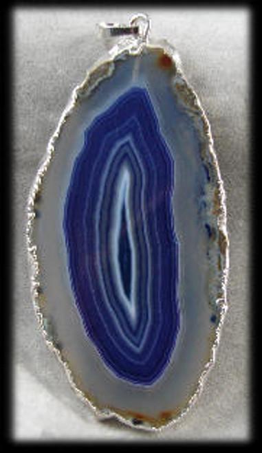 216027 Blue-Clear Agate Pendant