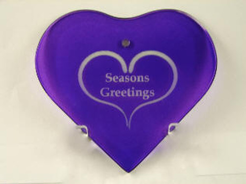 Purple Crystal Beveled Heard Shape Ornament with Velvet Bag