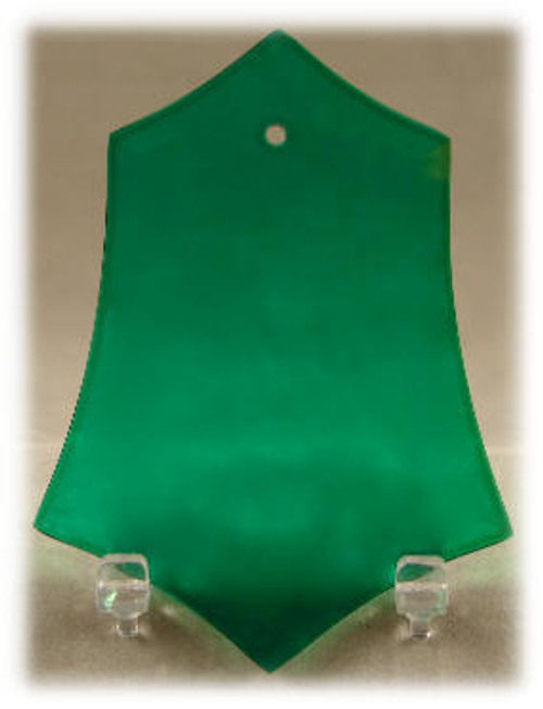 Green Crystal Beveled Holly Leaf/Hex Shape Ornament with Velvet Bag