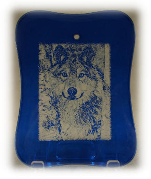 Blue Crystal Beveled Rectangle/Picture Frame Shape Ornament with Velvet Bag