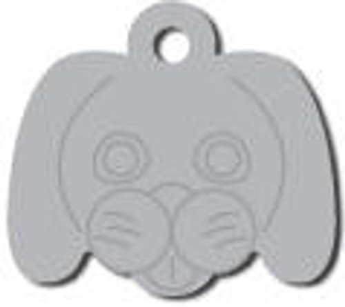 Silver Dog Face Tag