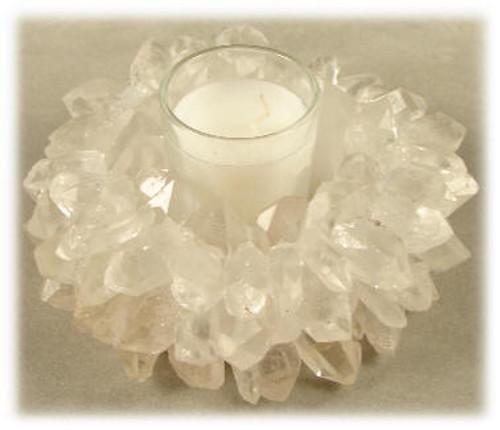 Crystal Quartz Candle Holder