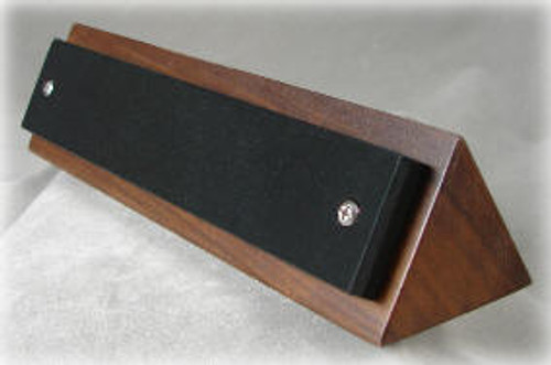 Triangle Shape Walnut Base with a LaserGrade Absolute Black Marble Name Plate