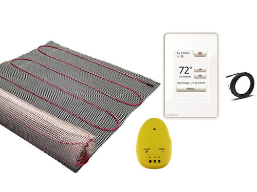 floor warming mat with thermostat and installation monitor