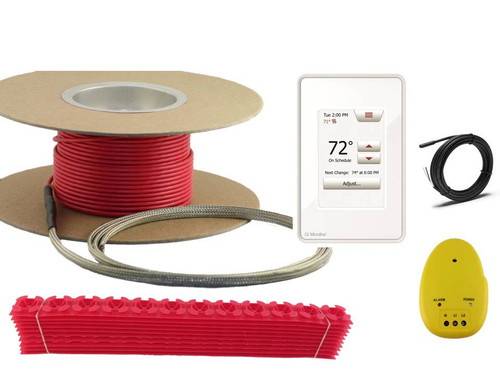 Floor warming cable with thermostat, cable guides, and installation monitor