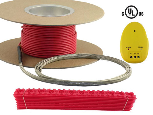 Warming Systems Electric Floor Heating Cable Kit includes cable, cable guides, and installation monitor