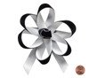 Velvet Satin Flower Topper - Black Velvet/Silver Satin