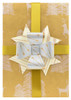 Paper Double Bow Topper - Cream/Silver/Gold