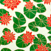 Gift Wrap - Water Lilies -  Cream/Metallic Red/Green and Gold