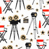 Gift Wrap - Hollywood - White/Metallic Red, Black and Gold Glitter