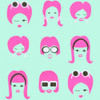 Gift Wrap - 60's Mod Face - Baby Teal/Bring Pink