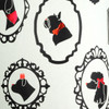 Dog Silhouettes - Cream & Black Metallic, Red foil