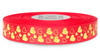 Metallic Gold Ink Hearts on Red Ribbon - Double Faced Satin Symbols