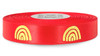 Metallic Gold Ink Rainbow on Red Ribbon - Double Faced Satin Symbols