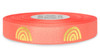 Metallic Gold Ink Rainbow on Coral Ribbon - Double Faced Satin Symbols
