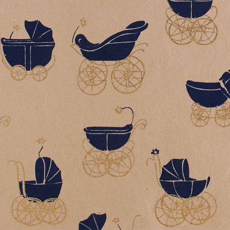 Gift Wrap - Buggy - Navy on Beige