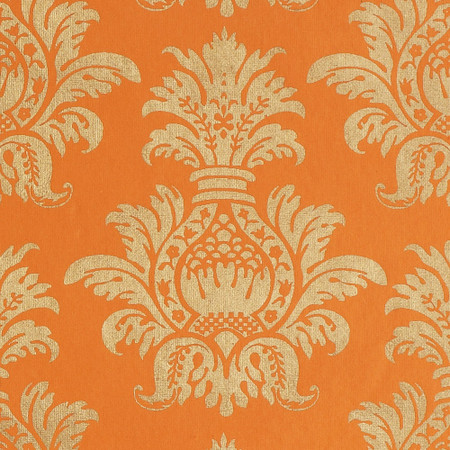 Gift Wrap - Pineapple - Gold on Orange