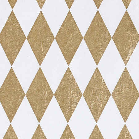 Gift Wrap - Harlequin - Gold on White