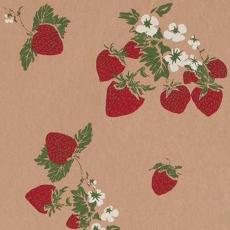 Gift Wrap - Strawberries - Tan