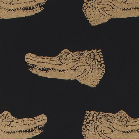 Gift Wrap - Crocodiles - Gold on Black