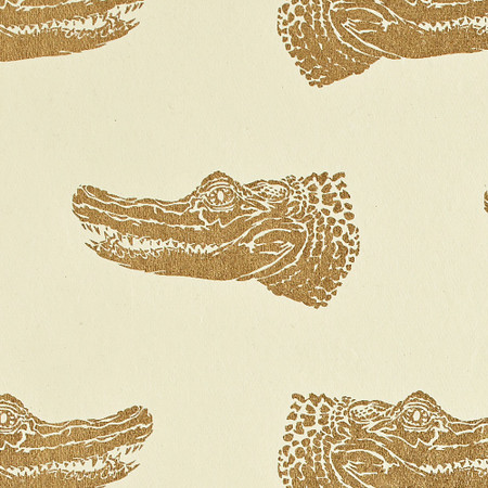 Gift Wrap - Crocodiles - Gold on Cream