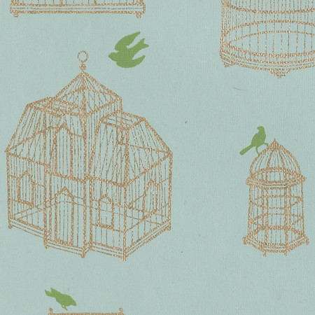Gift Wrap - Birdcage - Green Bird on Blue
