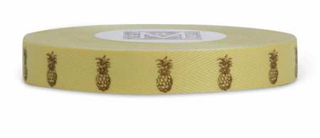 Symbols on Herringbone Ribbon - Brown ink Pineapple on Sunshine