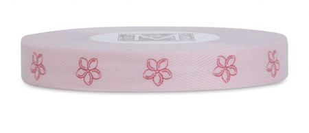 Symbols on Herringbone Ribbon - Red ink Plumeria on Pink Tulip
