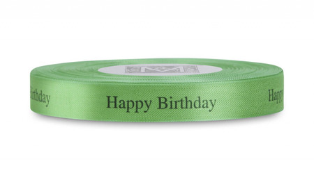 "Black ""Happy Birthday"" on Lemongrass Ribbon - Rayon Trimming Sayings"