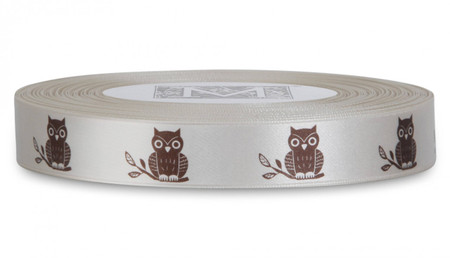 Double Faced Satin Symbols - Brown ink Owl on Magnolia