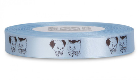 Double Faced Satin Symbols - Brown ink Puppy & Kitty on Powder Blue