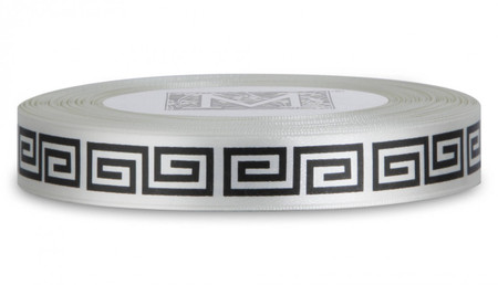 Double Faced Satin Symbols - Black ink Greek Key on Bone