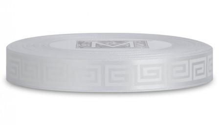Double Faced Satin Ribbon Symbols - White ink Greek Key on Alabaster
