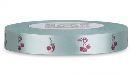 Double Faced Satin Symbols - Magenta ink Cherries on Spa