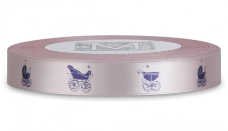 Double Faced Satin Symbols - Navy ink Buggy on Cherry Blossom