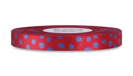 Blue Polka Dots on True Red Rayon Trimming Ribbon